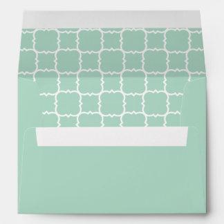 Mint Green and White Quatrefoil Pattern Envelope