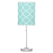 Mint Green and White Quatrefoil Pattern Table Lamp