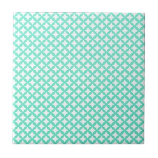 Mint Green And White Seamless Mesh Pattern Ceramic Tile