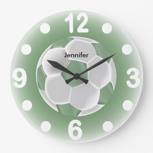 Mint Green and White Soccer Ball Large Clock