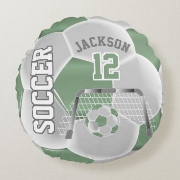 Professional Business Mint Green and White Soccer | DIY Name Round Pillow