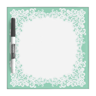 Mint green and white square lace white board