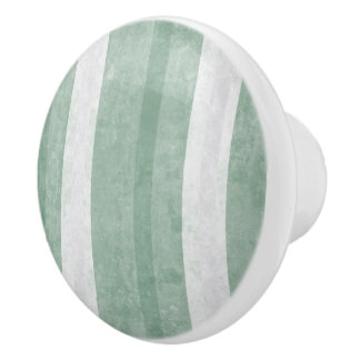 Mint Green and White Striped Ceramic Knob