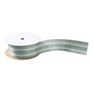 Mint Green and White Striped Satin Ribbon