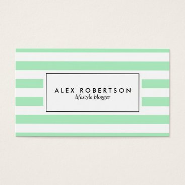 Professional Business Mint green and white stripes business card