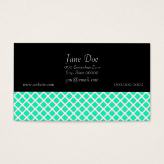 Mint Green and White Tilted Squares Pattern Business Card
