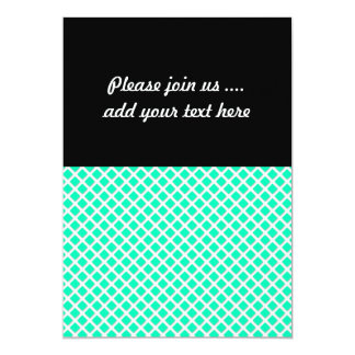 Mint Green and White Tilted Squares Pattern Card