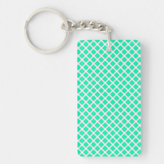 Mint Green and White Tilted Squares Pattern Keychain