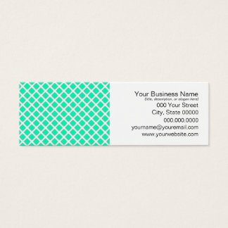 Mint Green and White Tilted Squares Pattern Mini Business Card