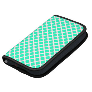 Mint Green and White Tilted Squares Pattern Organizers