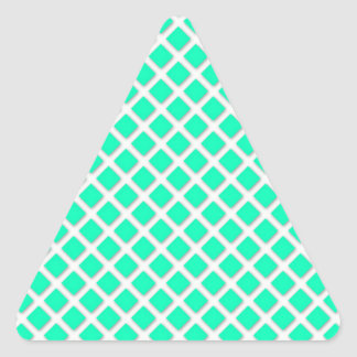 Mint Green and White Tilted Squares Pattern Triangle Sticker
