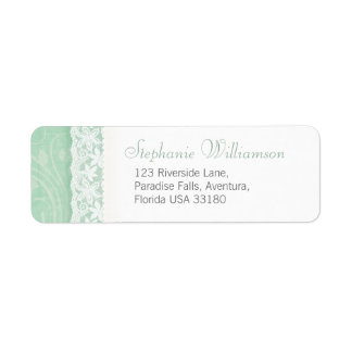 Mint green and white wedding return reply address label