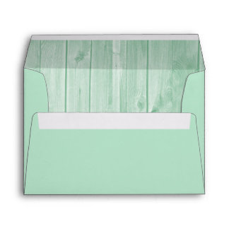 Mint Green and White Wood Envelope