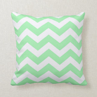 Mint Green and White Zigzag Throw Pillow