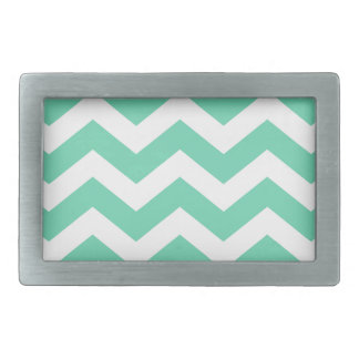 Mint Green and White Zigzags Belt Buckle