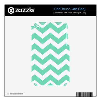 Mint Green and White Zigzags iPod Touch 4G Decals