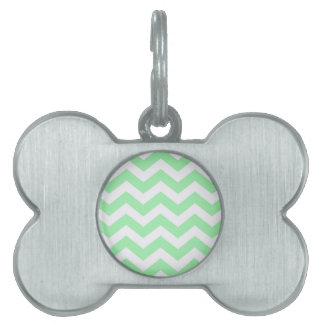 Mint Green and White Zigzags Pet Name Tag