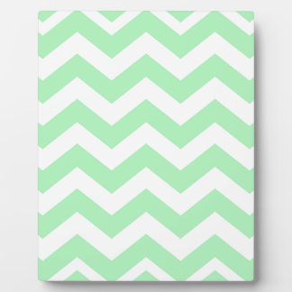 Mint Green and White Zigzags Plaque