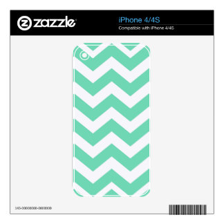 Mint Green and White Zigzags Skin For The iPhone 4