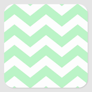 Mint Green and White Zigzags Square Sticker