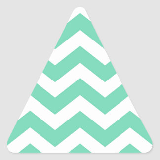 Mint Green and White Zigzags Triangle Sticker