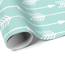 Mint Green Arrows Pattern Wrapping Paper