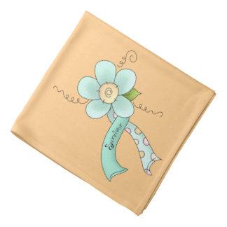 Mint Green Awareness Ribbon & Flower Survivor Bandana