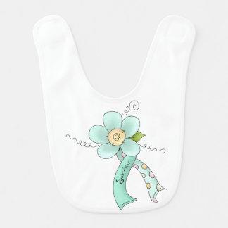 Mint Green Awareness Ribbon & Flower Survivor Bib