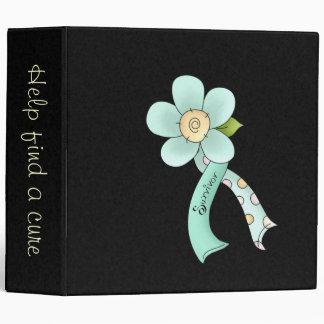 Mint Green Awareness Ribbon & Flower Survivor Binder
