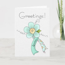 Mint Green Awareness Ribbon & Flower Survivor Card