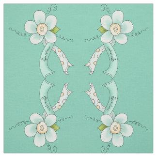 Mint Green Awareness Ribbon & Flower Survivor Fabric
