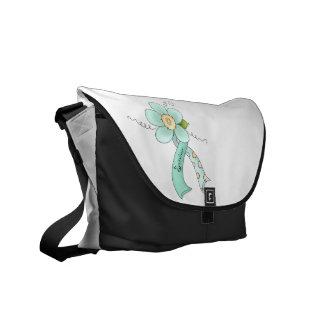 Mint Green Awareness Ribbon & Flower Survivor Messenger Bag
