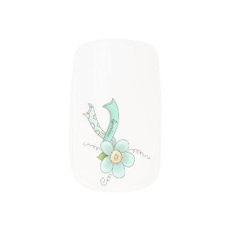 Mint Green Awareness Ribbon & Flower Survivor Minx Nail Wraps