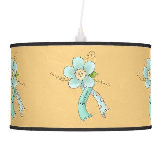 Mint Green Awareness Ribbon & Flower Survivor Pendant Lamp