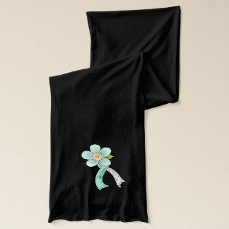 Mint Green Awareness Ribbon & Flower Survivor Scarf