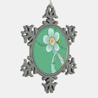 Mint Green Awareness Ribbon & Flower Survivor Snowflake Pewter Christmas Ornament