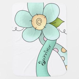 Mint Green Awareness Ribbon & Flower Survivor Stroller Blanket