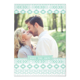 MINT GREEN AZTEC PHOTO SAVE THE DATE ANNOUNCEMENT