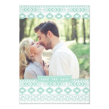 Aztec Themed MINT GREEN AZTEC PHOTO SAVE THE DATE ANNOUNCEMENT