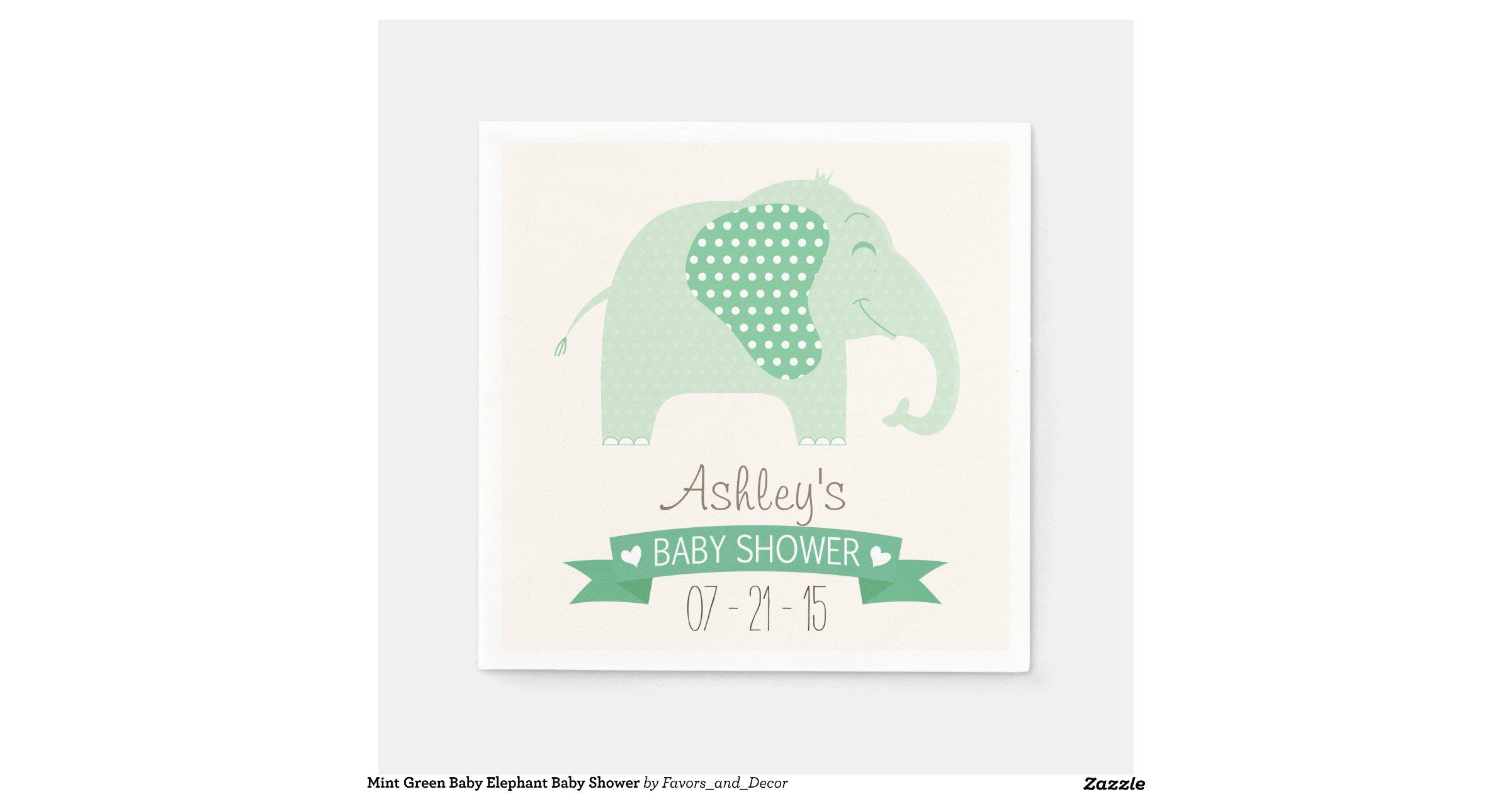 mint green baby elephant baby shower standard cocktail napkin zazzle