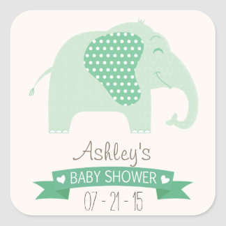 Mint Green Baby Elephant Baby Shower Square Sticker