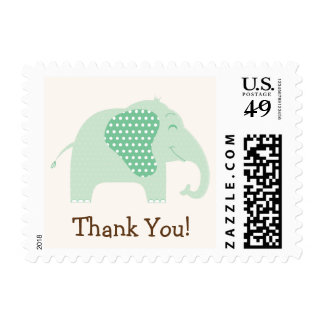 Mint Green Baby Elephant Thank You Postage