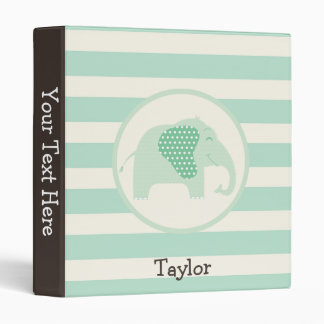 Mint Green Baby Elephant with Polka Dots Binder
