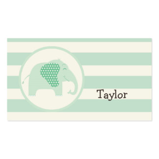 Mint Green Baby Elephant with Polka Dots Business Card