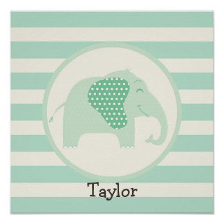 Mint Green Baby Elephant with Polka Dots Posters