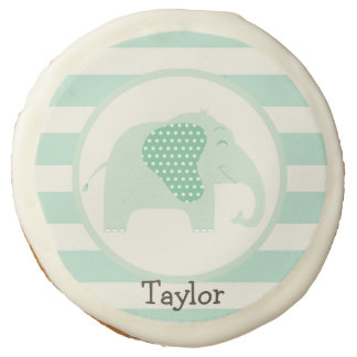 Mint Green Baby Elephant with Polka Dots Sugar Cookie
