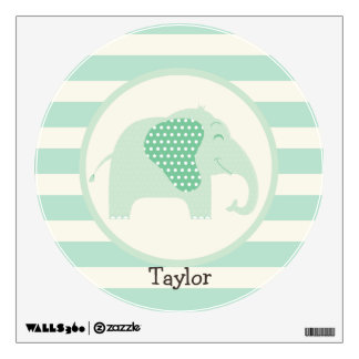 Mint Green Baby Elephant with Polka Dots Wall Stickers