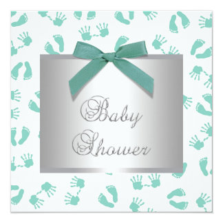 Mint Green Baby Hands Feet Baby Shower 5.25x5.25 Square Paper Invitation Card