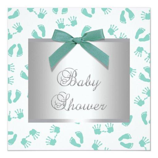 Mint Green Baby Hands Feet Baby Shower Invitation