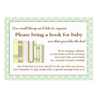 Mint Green Baby Shower Book Insert Request Card Large Business Card